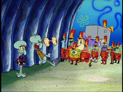Squidward surprised at band