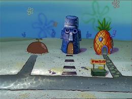 SpongeBob's missing door in Bubblestand