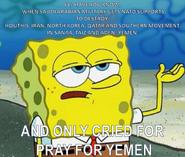 Tough SpongeBob during Yemeni Civil War
