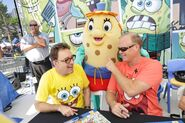 Mrs. Puff mascot with Tom Kenny and Bill Fagerbakke