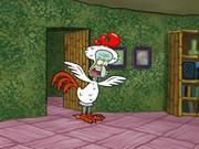 Squidward Wearing HIs Feather Friends Uniform