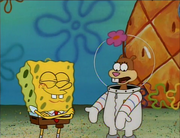 SpongeBob with Sandy at spongebob's house