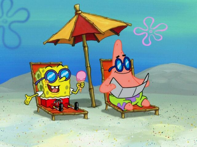 File:Spongebob holding Ice Cream & Patrick Sun Bathing.jpg