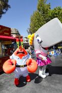 Pearl and Mr. Krabs mascot costumes