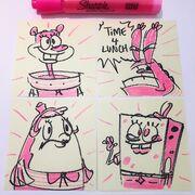 Lunch-doodles-SpongeBob-Mrs-Puff-Sandy-Krabs