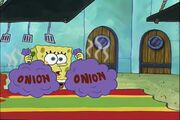 SpongeBob placing onions on table