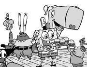 Squidward-Krabs-Pearl-SpongeBob-happy-crew