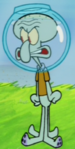 Squidward Wearing a Water Helmet