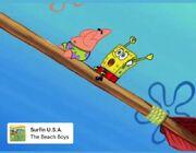 Spongebob listens to surf music
