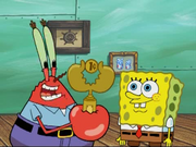 Mr. Krabs and SpongeBob with Cheapskate Trophy