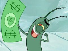 Plankton holding a dollar