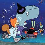 Sandy-Pearl-Krabs-Squidward-running
