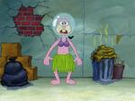 Sandy without Fur Wearing a Coffee Pot & a Grass Skirt