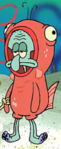 Squidward Wearing a Salmon Suit