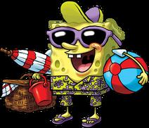 SpongeBob with Aloha shirt oil-painted stock art