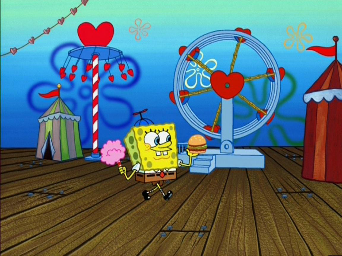 Spongebob Wearing 1 Hat U0026 Holding Cotton Candy U0026 1 Krabby Patty @ The Valentineu0027s  Day Carnival