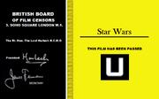 Original BBFC Star Wars Rating Certificate
