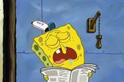 Spongebob sleeping on the job