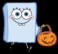 SpongeBob with pumpkin basket stock art