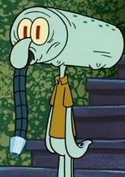 Squidward With vaccum in head
