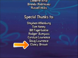 Clancy Brown name credit in SpongeBob's Truth or Square video game
