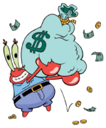 Mr. Krabs with money stock image
