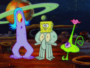 SquidBob character in outer space