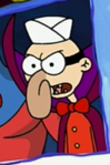Barnacle Boy as Barnacle Man Wearing an Ice Crean Man's Hat and a Bow Tie