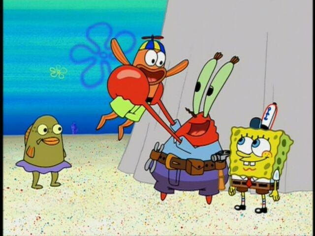 File:Mr. Krabs, Spongebob, & 2 Kid Fish.jpg