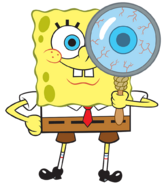 SpongeBob with magnifying glass stock art