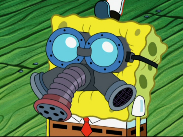 File:SpongeBob with Gas Mask in Squiditis.png