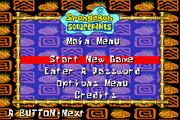 SuperSponge GBA main menu