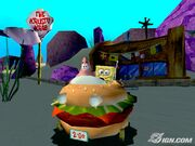 3d Spongebob & 3d Patrick (Both In The Krabby Patty Wagon) Next to The Krusty Krab