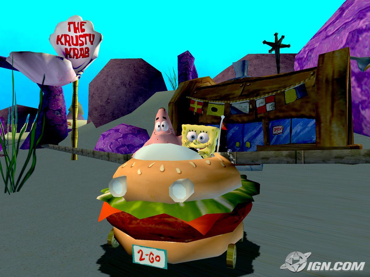 image 3d spongebob 3d patrick both in the krabby patty wagon
