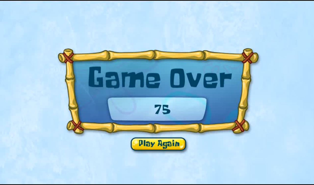 Krabby Katch New Game Over Screen