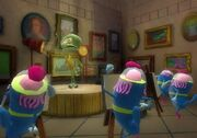 3d Squidward & 4 3d Atlantians In The Hall Of Art In Atlantis