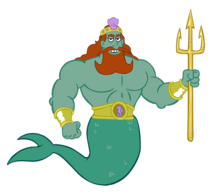 King Neptune with trident render stock art