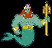King Neptune with trident render stock art