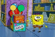 SpongeBob pointing to Plan Your Own Party Kit