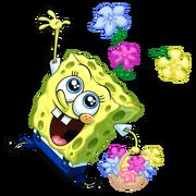 SpongeBob throwing flowers