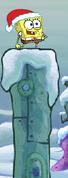 Spongebob Winter RUNerland Spongebob on light blue building