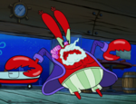Mr. Krabs in hair curlers and nightshirt