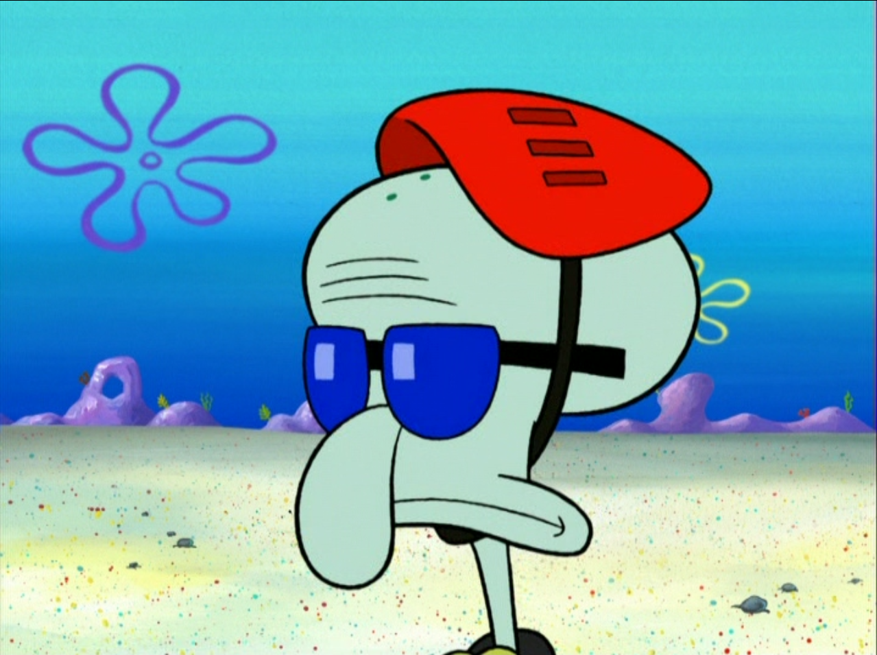 image squidward wearing a helmet and sunglasses png
