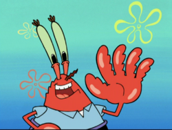 Mr. Krabs holding up 5 fingers in No Hat for Pat
