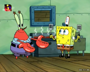 Mr.Krabs with SpongeBob & 2 Spatulas