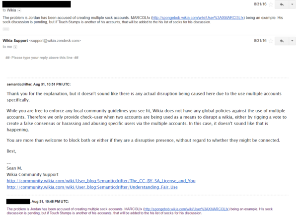 Jordan2001 Sockpuppetry - Email 3b (failed)