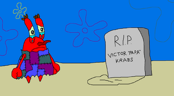 Mr. Krabs is crying with his father is dead