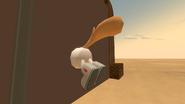 Sandy stuck in the Krusty Krab