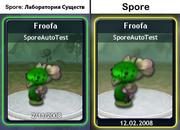 Карточки Споропедии в Лаборатории существ и Spore (сравнение)