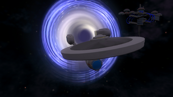 USS Enterprise A leaves wormhole